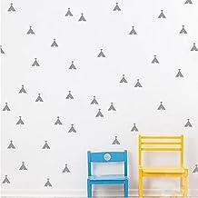 72Pcs Set Wall Decal Mini Tepee Sticker Kids Wall Decoration Nursery Decal (Silver)