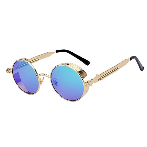Mirror Lens Round Glasses Goggles Steampunk Sunglasses Vintage Retro (Sniper Mirror Goggles)