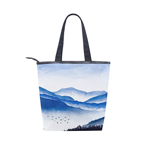 Bag Shoulder Womens MyDaily Mountains Watercolor And Canvas Tote Handbag Birds qEgqtU