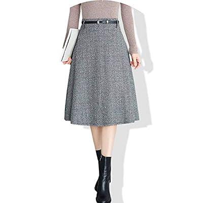 Woolen Skirt Autumn WinterA Line High Waist Plaid Pleated Big Swing Skirts