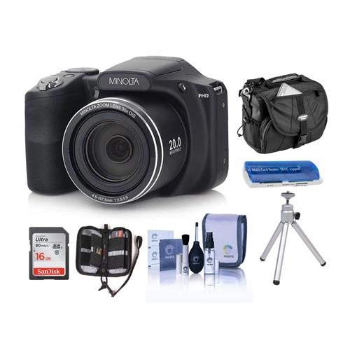 Minolta M35Z 20MP 1080p HD Bridge Digital Camera with 35x Optical Zoom, Black - Bundle with Camera Case, 16GB SDHC Card, Memory Wallet, Cleaning Kit, Card Read er, Tabletop Tripod