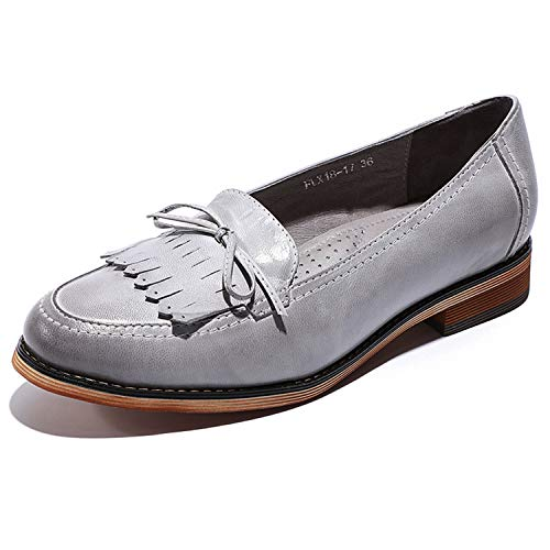 Mona flying Womens Leather Tassel Penny Loafer Casual Flat Shoes for Women Ladies Girls Grey