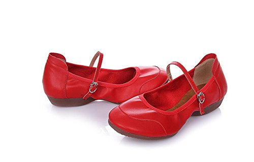 SQIAO-X- Onorevoli Latino Scarpe Da Ballo Morbido Fondo Scarpa Danza Con Una Base Piatta Square Dance Latina Scarpe Da Ballo, Rosso 39