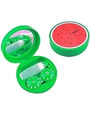 Con Espejo para Viaje Verde Caja de lentes de contacto Patrón de sandía