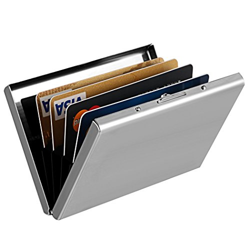 Ultra Thin Stainless Steel Credit Card Wallet RFID Blocking Slim Metal Business Card Case Holder for Travel and Work, Men & Women, Great as a Gift for your Family or Friends (Thin Holder Card Ultra)
