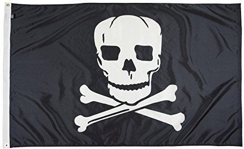 (FlagSource Jolly Roger Nylon Pirate Decorative Flag, Made in The USA, 3x5' )