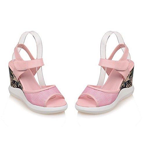 Amoonyfashion Mujer's Open Toe High Heels Solid Sandalias De Gancho Y Lazo Pink
