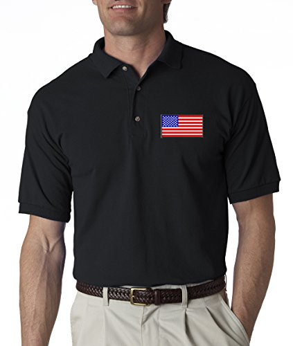 A2S American Flag Chest Logo USA Pride Embroidered Polo Shirt S-3XL 8 Colors - Black - (American Flag Polo Shirt)