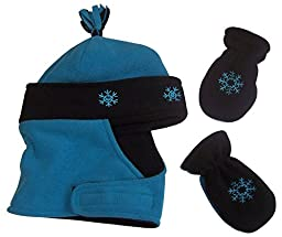 N\'Ice Caps Girls Wrap Around Micro Fleece Embroidered Set (6-15 Months, Infant - Turq/Black)