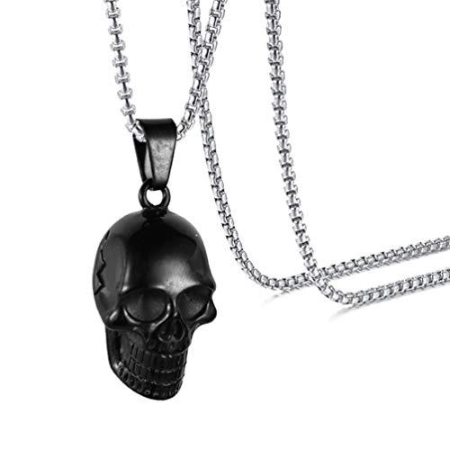 Xusamss Punk Skull Pendant Titanium Steel Necklace with 50CM Chain - Black Pendant Skull