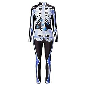 - 41IWyhr5LEL - Idgreatim Women Halloween Cosplay Costume 3D Print Long Sleeve Skinny Skeleton Catsuit Jumpsuit Bodysuit