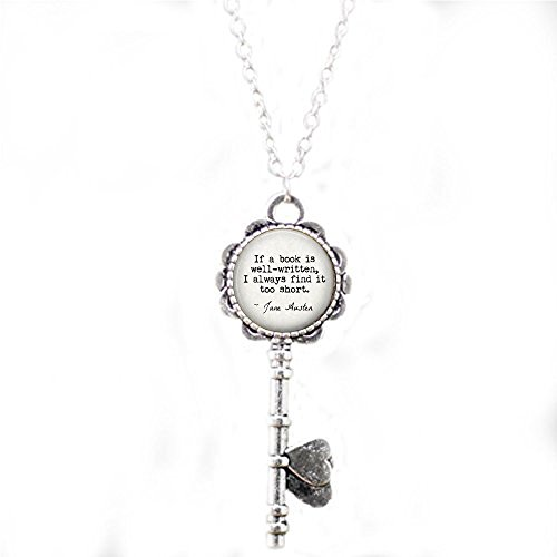 Jane Austen Literary Quote Jewelry If a book is well-written, I always find it too short. Book key Necklace – Book Lover Gift – Book Jewelry