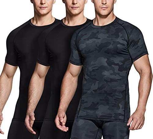 Mens Cool Dry Compression Short//Long Sleeve Sports Baselayer T-Shirts Tops Pack of 3