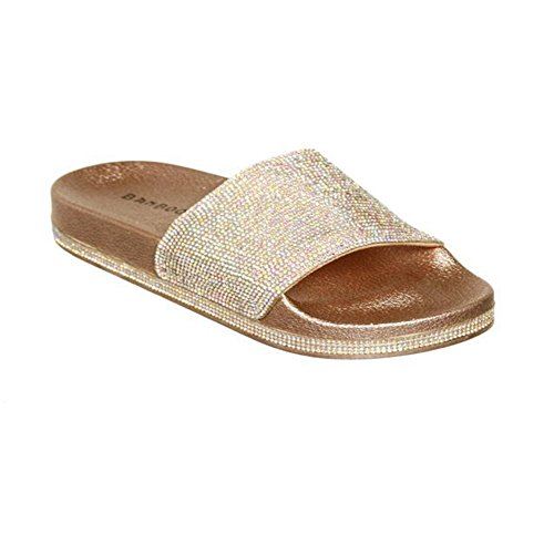 for Comfy Slip Women Fashion Slippers Yellow T Sandals JULY Sparkle on Flat Roman Glitter Sequins Ladies Dress Walking FPqpHz
