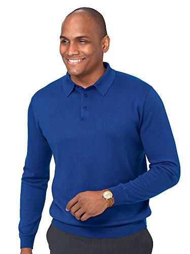 Paul Fredrick Men's Silk, Cotton \ Cashmere Polo Collar Sweater Blue Medium