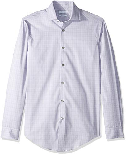 Calvin Klein Men's Dress Shirt Non Iron Slim Fit Stretch Stripe, Purple/Multi, 15.5
