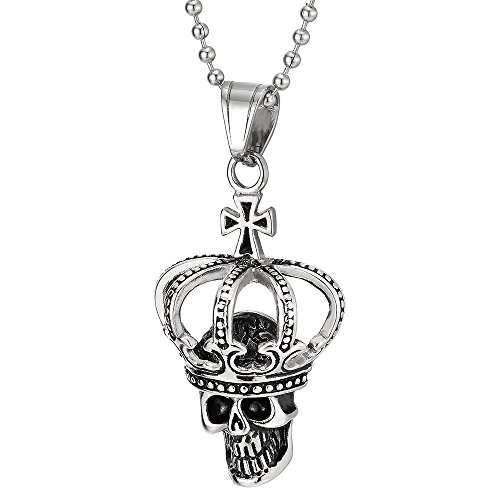 COOLSTEELANDBEYOND Stainless Steel Vintage Cross Crown Skull Pendant Necklace for Man Women, 30 inches Ball Chain
