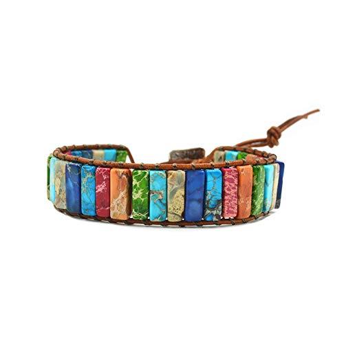 IminiJewelry New Handmade Imperial Jasper Beaded Leather Wrap Bracelets for Women Teen Girls Adjustable