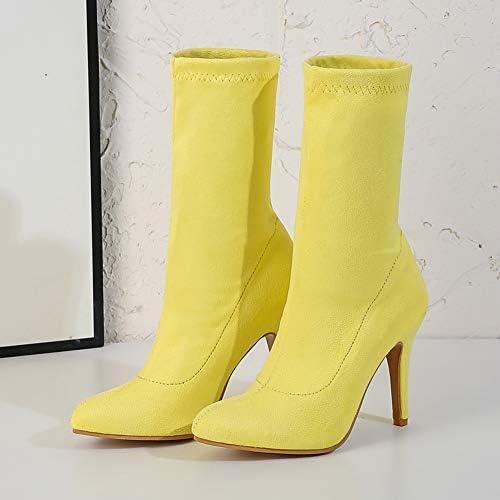 NA Gel Nail Botines De Mujer, Botines De Gamuza Elásticos para Mujer, Zapatos De Tacón De Aguja Puntiagudos para Mujer,Amarillo,41  6GusR