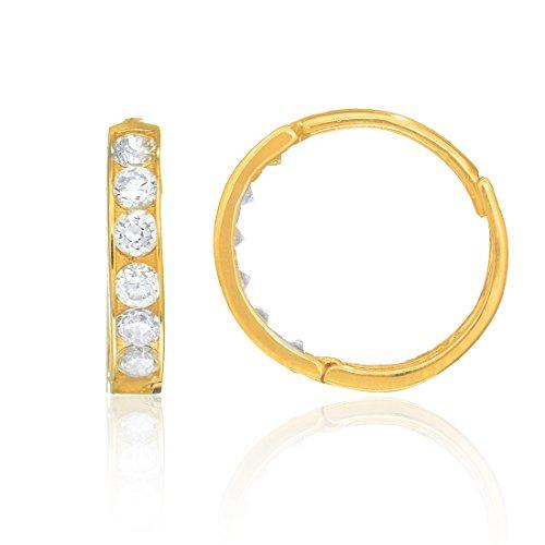 14k Solid Yellow Gold Huggies Cubic Zirconiua Hoop Earrings 2x11 Mm