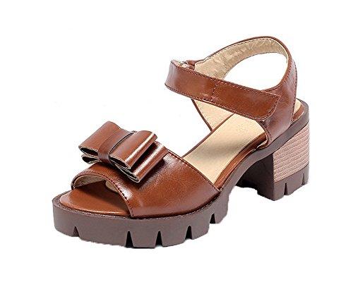 Sandals EGHLH006578 Hook High Open Heels WeiPoot Women's Brown Pu Toe Loop 8HzFxOtwq