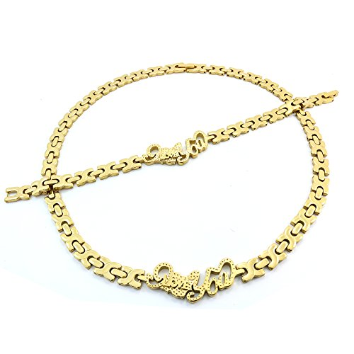 I LOVE YOU HUGS AND KISSES NECKLACE AND BRACELET SET XOXO STAINLESS STEEL GOLD DIAMOND CUT