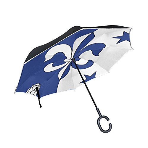 - Double Layer Inverted Fleur De Lis Coat Or Arms Heraldry Flag Medieval Umbrellas Reverse Folding Umbrella Windproof Uv Protection Big Straight Umbrella For Car Rain Outdoor With C-shaped Handle