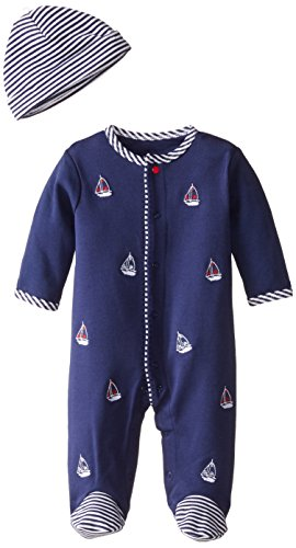 Little Me Baby-Boys Newborn Sailboats Footie and Hat, Navy, Newborn