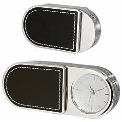 Natico Folding Alarm Clock With Leather Trim (10-3964L)