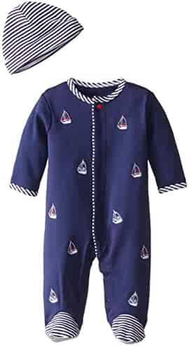 Little Me Baby-Boys Sailboats Footie and Hat, White Print, Preemie Months
