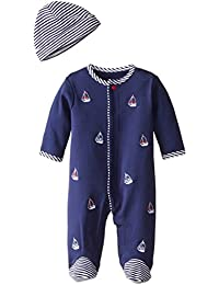Little Me Baby-Boys Sailboats Footie and Hat, White...