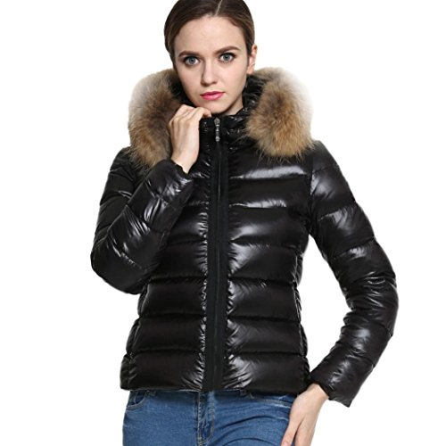 Winter Women's Short Down Coat Cotton Parka Fur Collar Hooded Coat Quilted Jacket (L, Black)