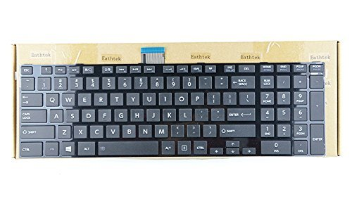 Eathtek Replacement Keyboard with Matte Black Keys Glossy Frame for Toshiba Satellite (Pro) C850 C850D C855 C855D C870 C870D C875 C875D L850 L850D L855 L855D L870 L870D L875 L875D Series US Layout, Compatible with part# 9Z.N7USV.A01 NSK-TVASV 01 6037B0076 by Eathtek
