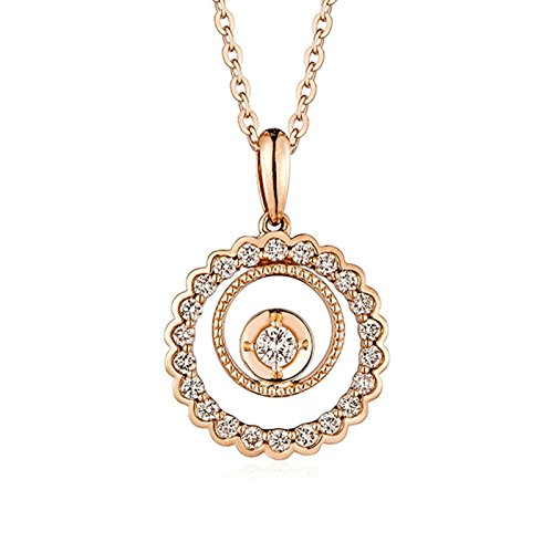 Real 18K Rose Gold Diamond Necklace Circle Pendant Birthday Women Jewelry - Fedex Address Shipping Change