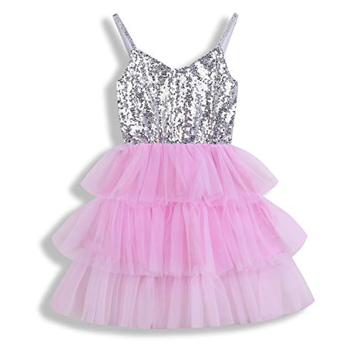 (Toddler Kids Baby Girls Dress Sleeveless Sequins Bow-Knot Party Wedding Prom Princess Lace Tutu Tulle Outfits (12-18 Months, Silver & Pink))