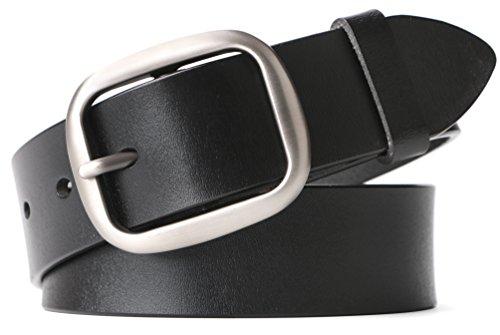 Leather Ladies Jeans (Women Leather Belts Ladies Waist Belts for Jeans Pants Dresses Wide 33mm)