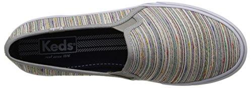 Keds Kvinners Dobbeltdekker Vevet Regnbue Stripe Slip-on Sneaker Lys Grå