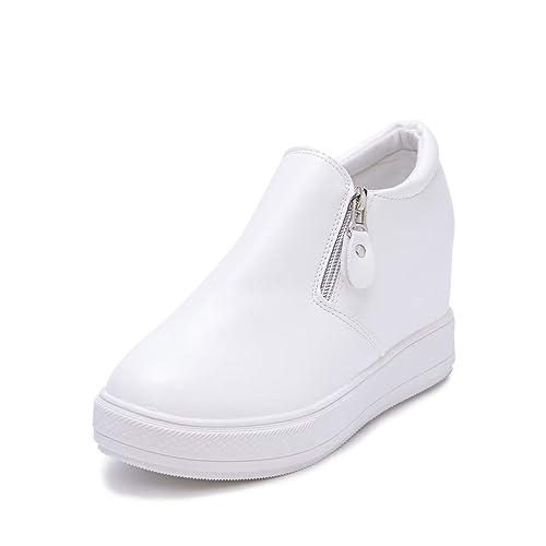 Plataforma De Mujer Zapatos De CuñA Casuales Mocasines Cada Vez Mayores ResbalóN En OtoñO Invierno Moda Coreana SóLido Pisos De Cuero Calzado: Amazon.es: ...