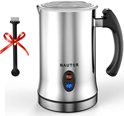 Milk Frother Electric Professional Hot and Cold Dense Foam Coffee One Touch Automatic Milk Steamer Warmer with Whisk Stainless Steel Silent Operation Non-Stick Coating Thick Froth Milk Foamer Machine -