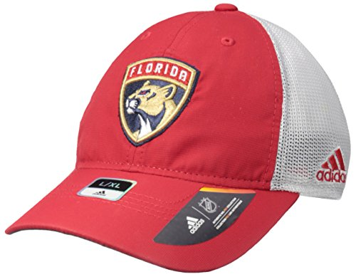 fan products of NHL Florida Panthers Adult Men Pro Authentic Meshback Slouch Flex, Large/X-Large, Red
