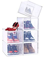 Shoe Organizer Box Stackable, Ohuhu X-Large Shoe Storage, Shoe Boxes Drawer Type Front Opening 6 Pack Clear Plastic for Closets and Entryway