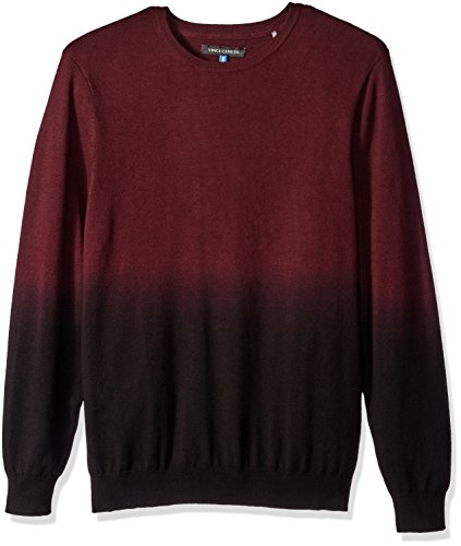 Vince Camuto Men's Dip-Dyed Crew Neck Sweater, Port Fade, ()