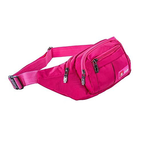 Toudorp Fanny Pack 4 Pockets Waist/Bum Bag 26-44 inches Adjustable Belt for Men and Women Running, Cycling and Fishing (Rose Red)