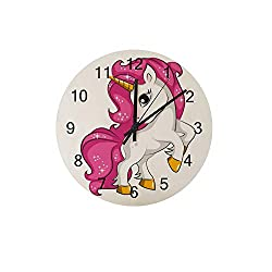 ZHONGJI Wooden Wall Clock Round Silent Non Ticking Battery Drive Home Decor Accessories Vintage Style Office Bedroom Cute Cartoon Unicorn Wooden Clock