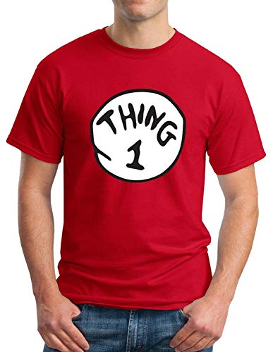 Hobbynica Thing 1 Thing 2 Adult Shirt - Thing 1-6 Halloween Costume (M, Thing 1) Red