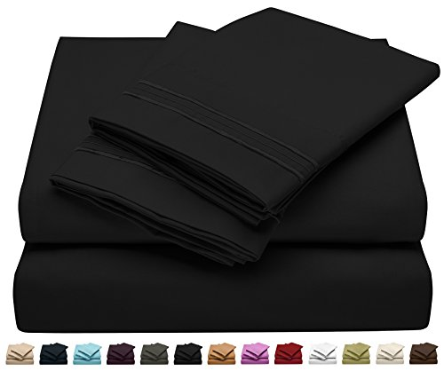 Jessie Porter Full Size Bed Sheet Set - Soft Brushed Microfiber Luxury Comfort Sheet Set - 1800 Thread Count Bedding Linens - Black - Victoria Collection by