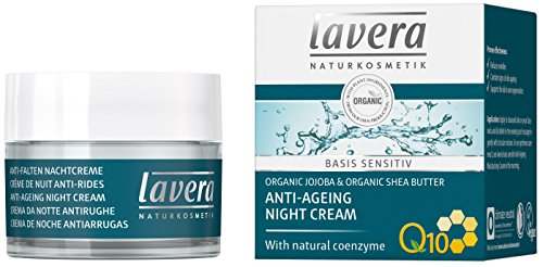 Lavera Natural Anti-Aging Night Cream For Sensitive Skin - Lightweight, Fast-Absorbing - Softer, Smoother, Soothed and Younger Complexion (1.6 oz) -