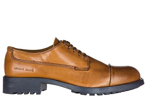 Armani Jeans chaussures à lacets classiques homme en cuir derby marron