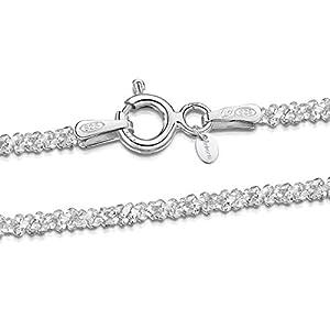 Amberta® Bijoux – Collier – Chaîne Argent 925/1000 – Maille Diamantée – Largeur 2 mm – Longueur 40 45 50 55 cm