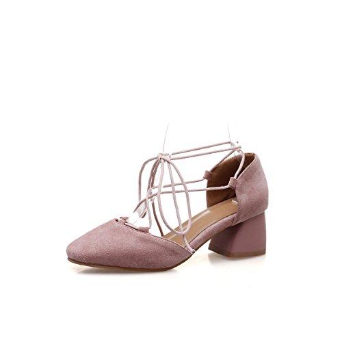 Peu Chaussures Bouche Fait Sangles Romain Avec Profonde Cheville De Des Pink Sandales Épais Grande Femmes Taille 44xwBtrA